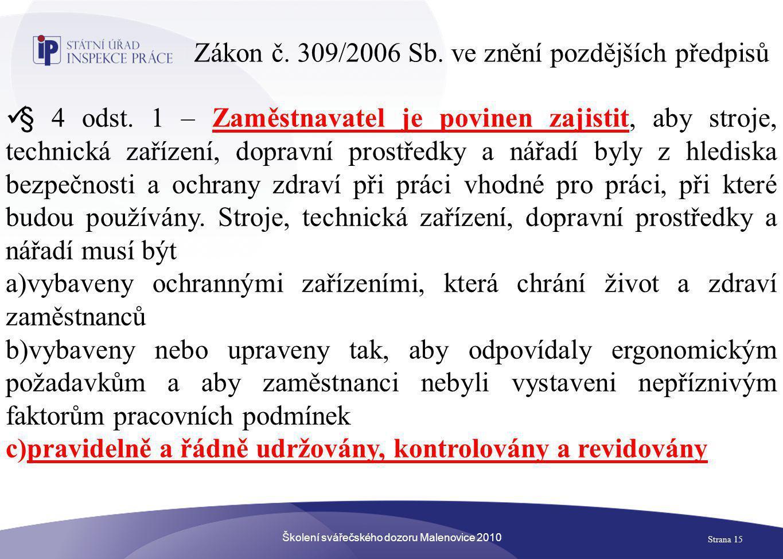 Zákon č. 309/2006 Sb. ve znění pozdějších předpisů