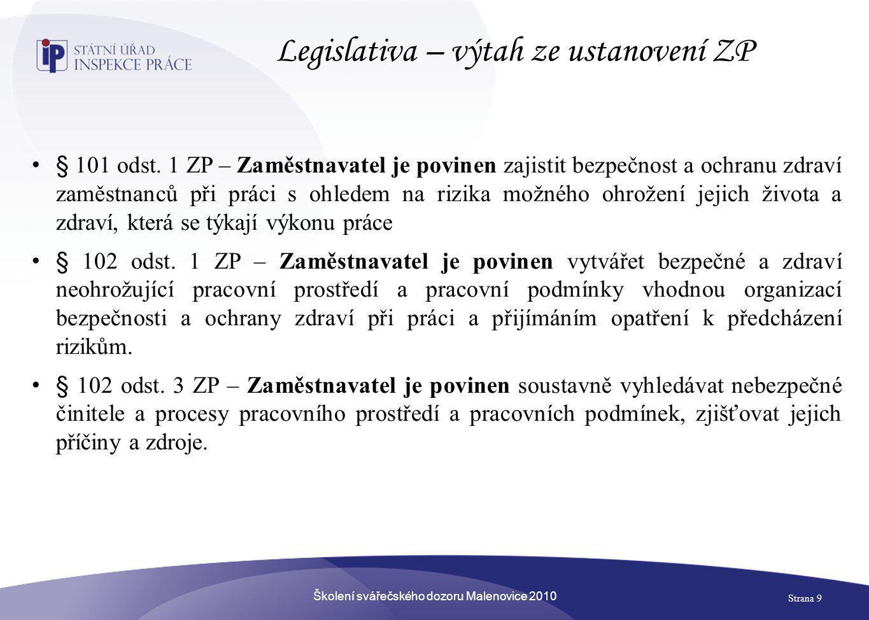 Legislativa – výtah ze ustanovení ZP