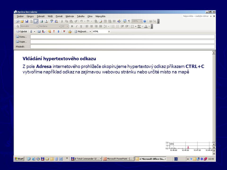 Nové zprávy Vkládání hypertextového odkazu