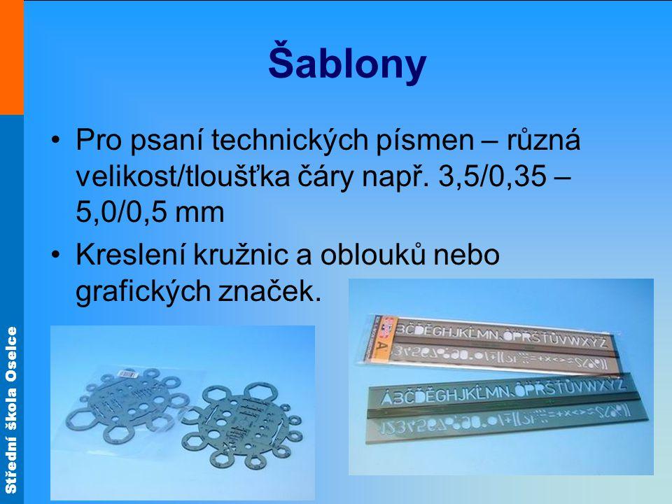 Šablony Pro psaní technických písmen – různá velikost/tloušťka čáry např.