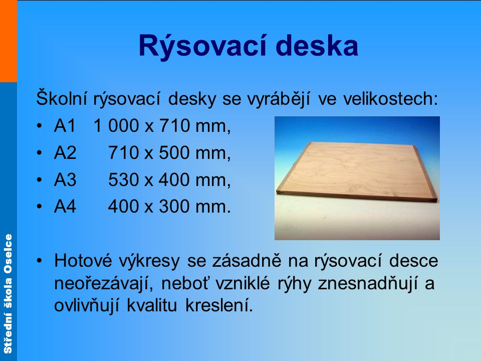 Rýsovací deska Školní rýsovací desky se vyrábějí ve velikostech: