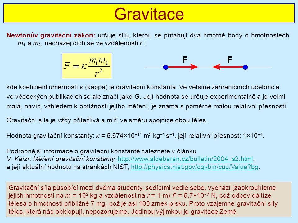 Gravitace Newtonův gravitační zákon: určuje sílu, kterou se přitahují dva hmotné body o hmotnostech m1 a m2, nacházejících se ve vzdálenosti r :