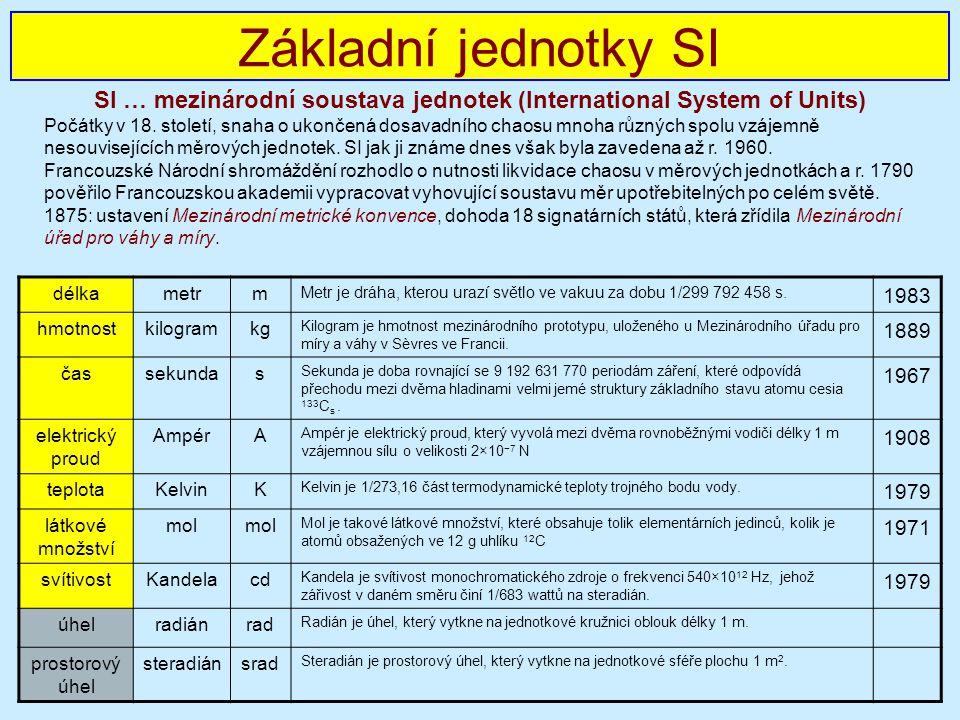 SI … mezinárodní soustava jednotek (International System of Units)