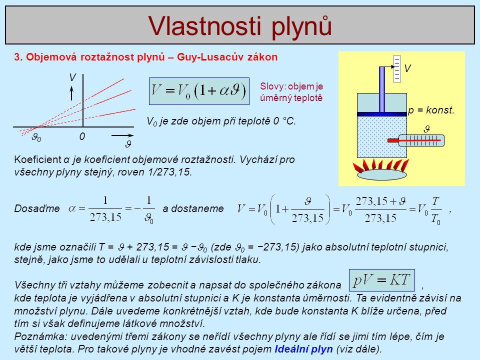 Vlastnosti plynů 3. Objemová roztažnost plynů – Guy-Lusacův zákon V V