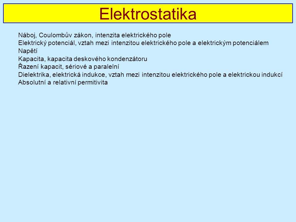 Elektrostatika Náboj, Coulombův zákon, intenzita elektrického pole
