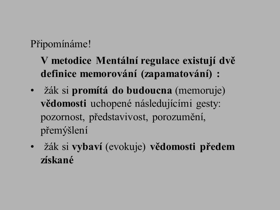Připomínáme! V metodice Mentální regulace existují dvě definice memorování (zapamatování) :