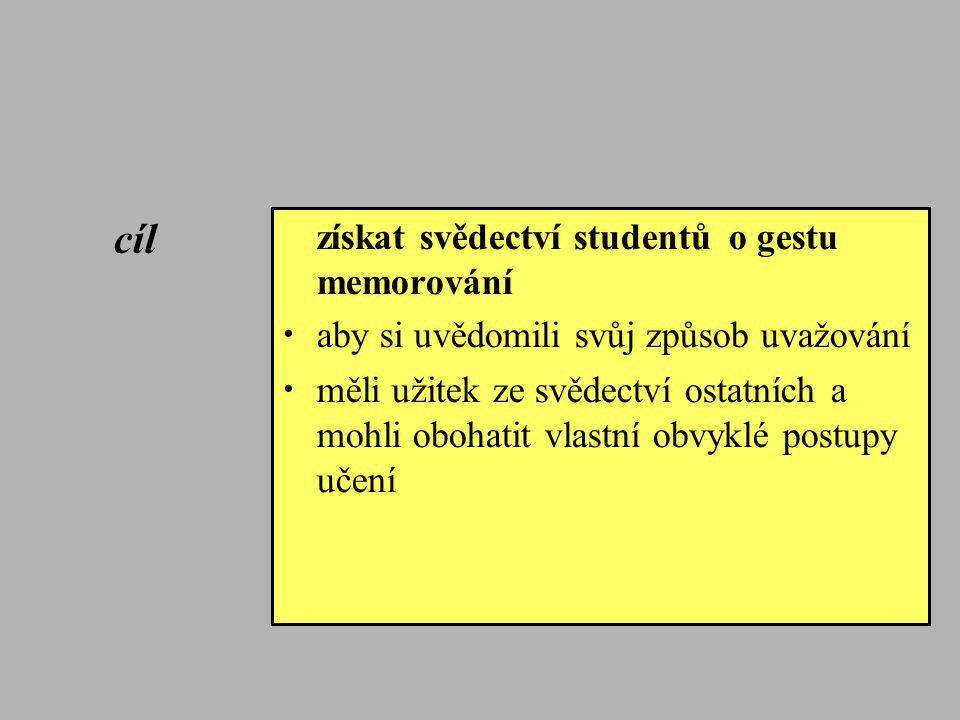 cíl získat svědectví studentů o gestu memorování