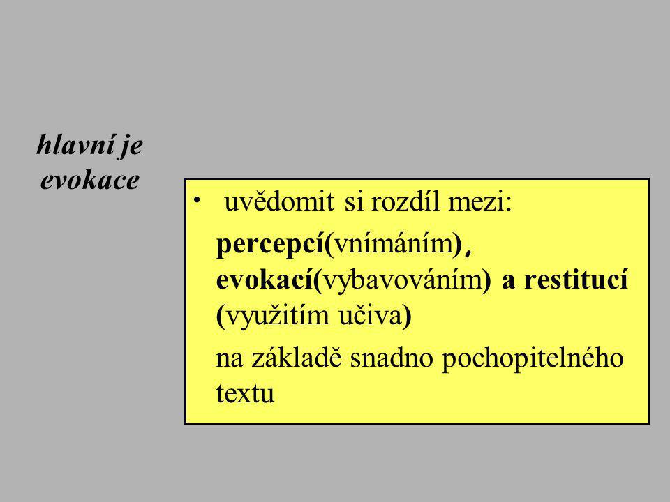 hlavní je evokace uvědomit si rozdíl mezi: percepcí(vnímáním), evokací(vybavováním) a restitucí (využitím učiva)