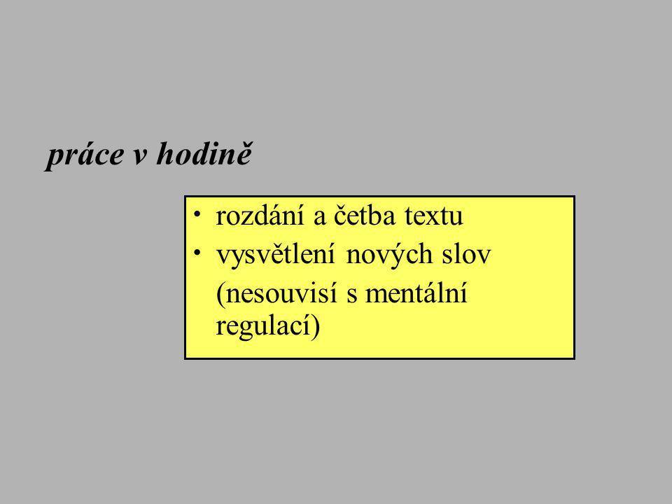 práce v hodině rozdání a četba textu vysvětlení nových slov