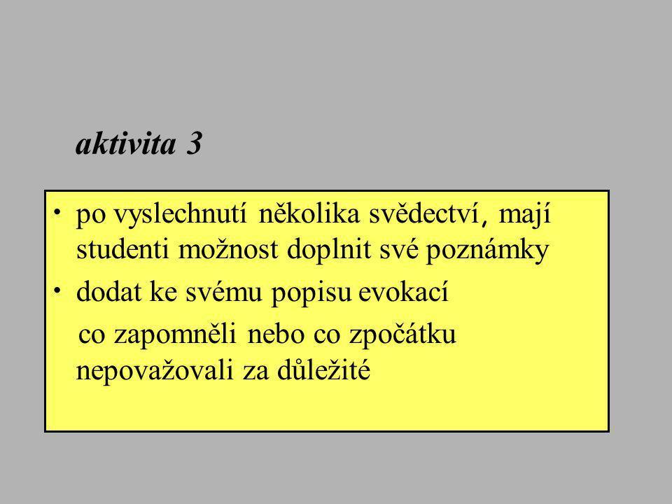 aktivita 3 po vyslechnutí několika svědectví, mají studenti možnost doplnit své poznámky. dodat ke svému popisu evokací.