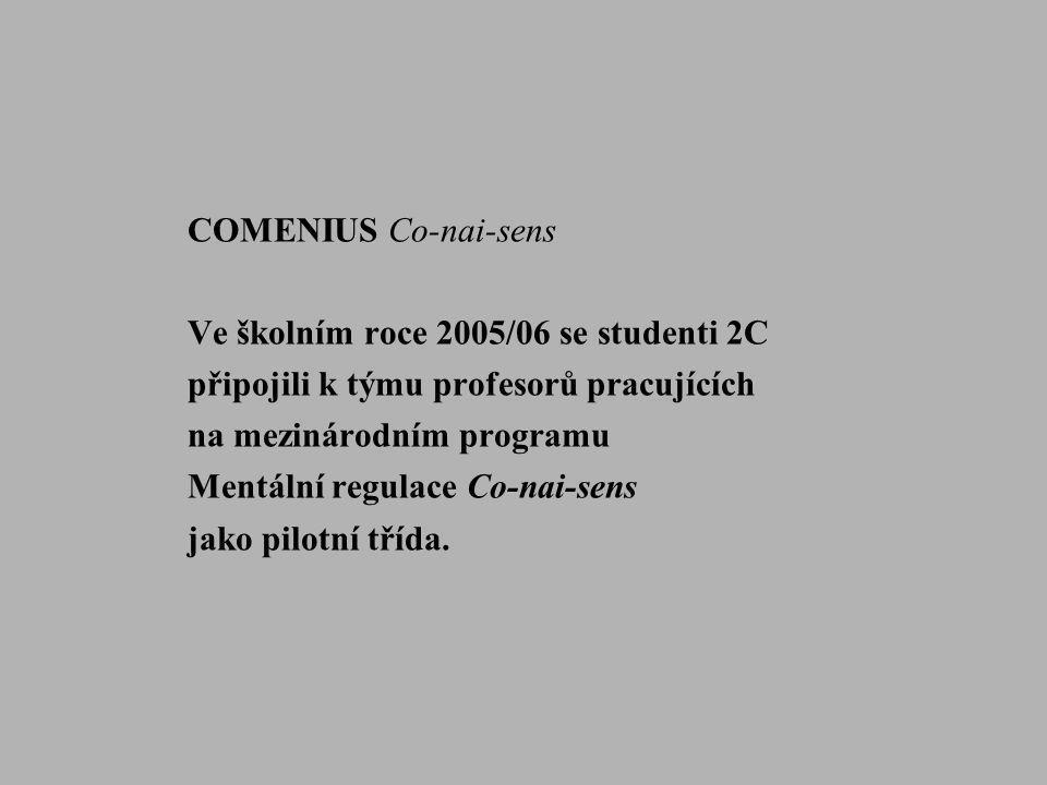 COMENIUS Co-nai-sens Ve školním roce 2005/06 se studenti 2C. připojili k týmu profesorů pracujících.