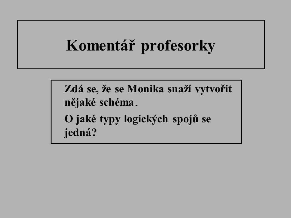 Komentář profesorky Zdá se, že se Monika snaží vytvořit nějaké schéma.