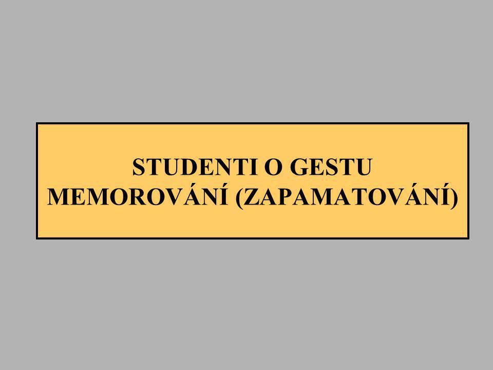 STUDENTI O GESTU MEMOROVÁNÍ (ZAPAMATOVÁNÍ)