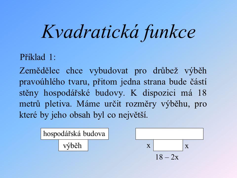 Kvadratická funkce Příklad 1: