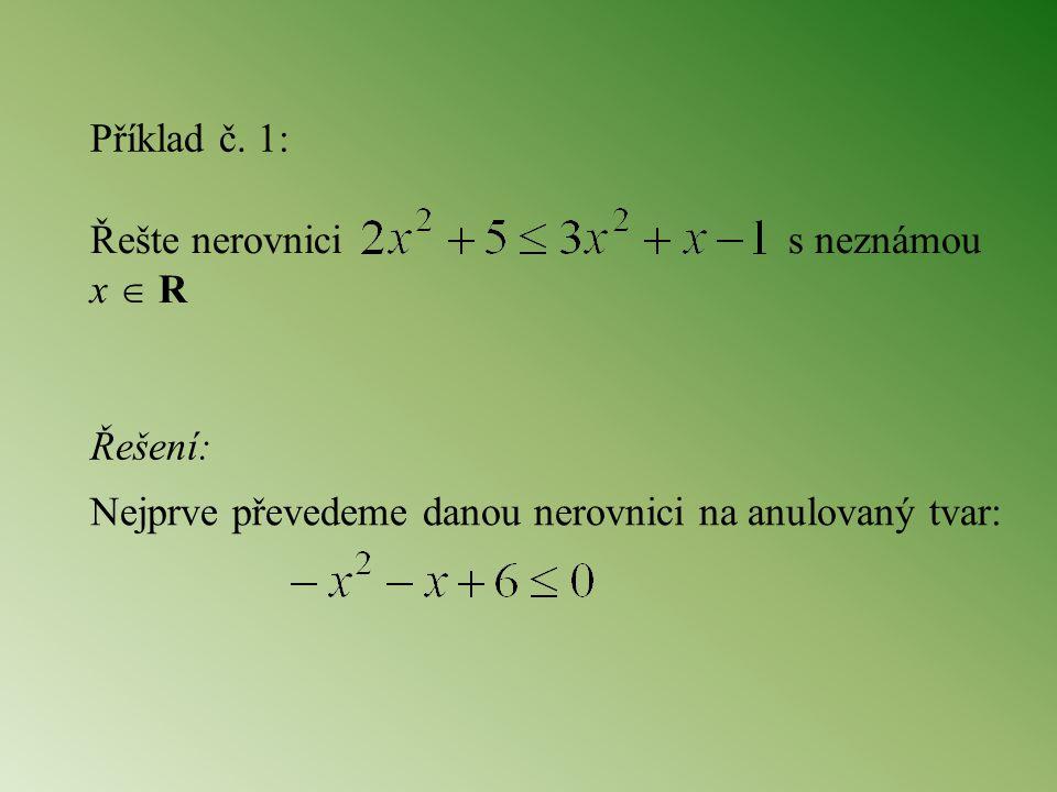 Příklad č. 1: Řešte nerovnici s neznámou x  R. Řešení:
