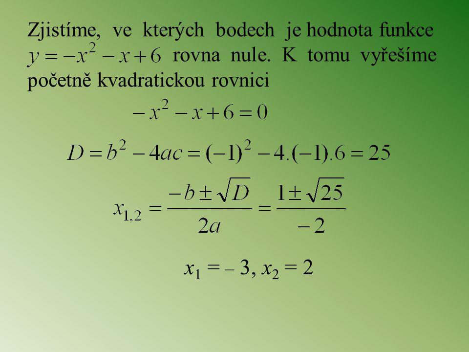 x1 = – 3, x2 = 2 Zjistíme, ve kterých bodech je hodnota funkce