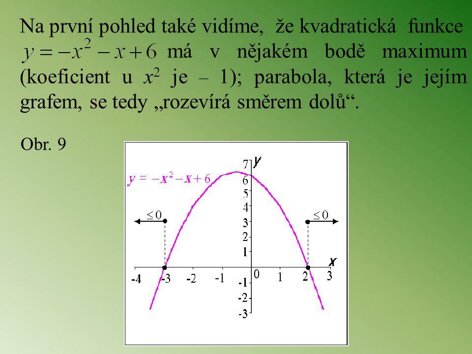 Na první pohled také vidíme, že kvadratická funkce