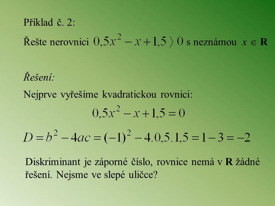 Příklad č. 2: Řešte nerovnici s neznámou x  R. Řešení: Nejprve vyřešíme kvadratickou rovnici:
