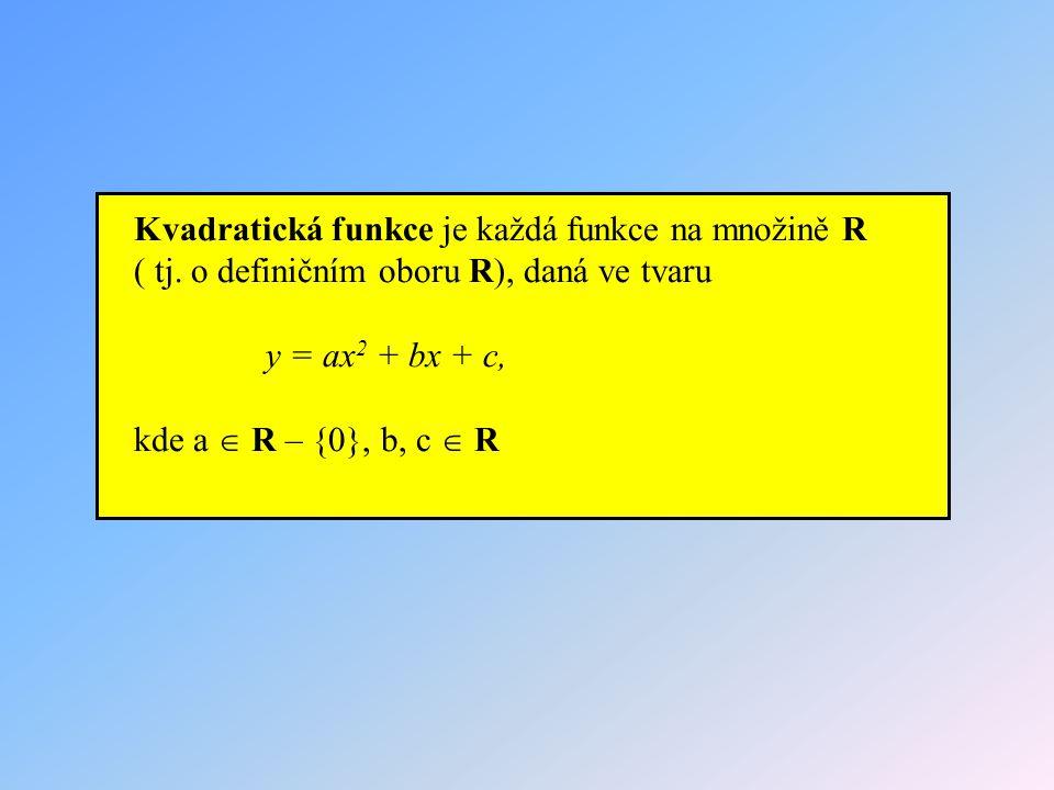 Kvadratická funkce je každá funkce na množině R ( tj