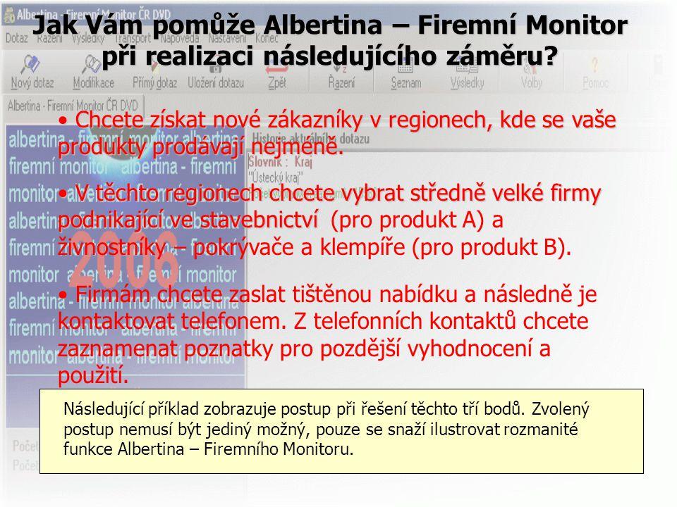Jak Vám pomůže Albertina – Firemní Monitor při realizaci následujícího záměru