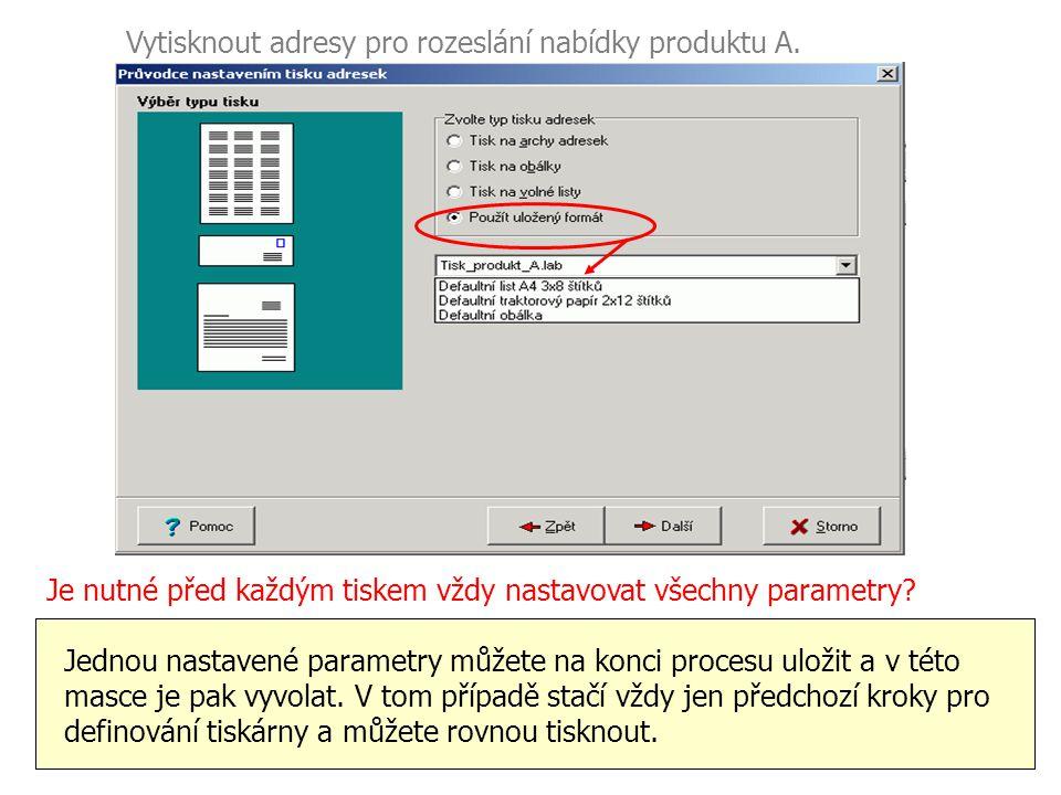 Vytisknout adresy pro rozeslání nabídky produktu A.