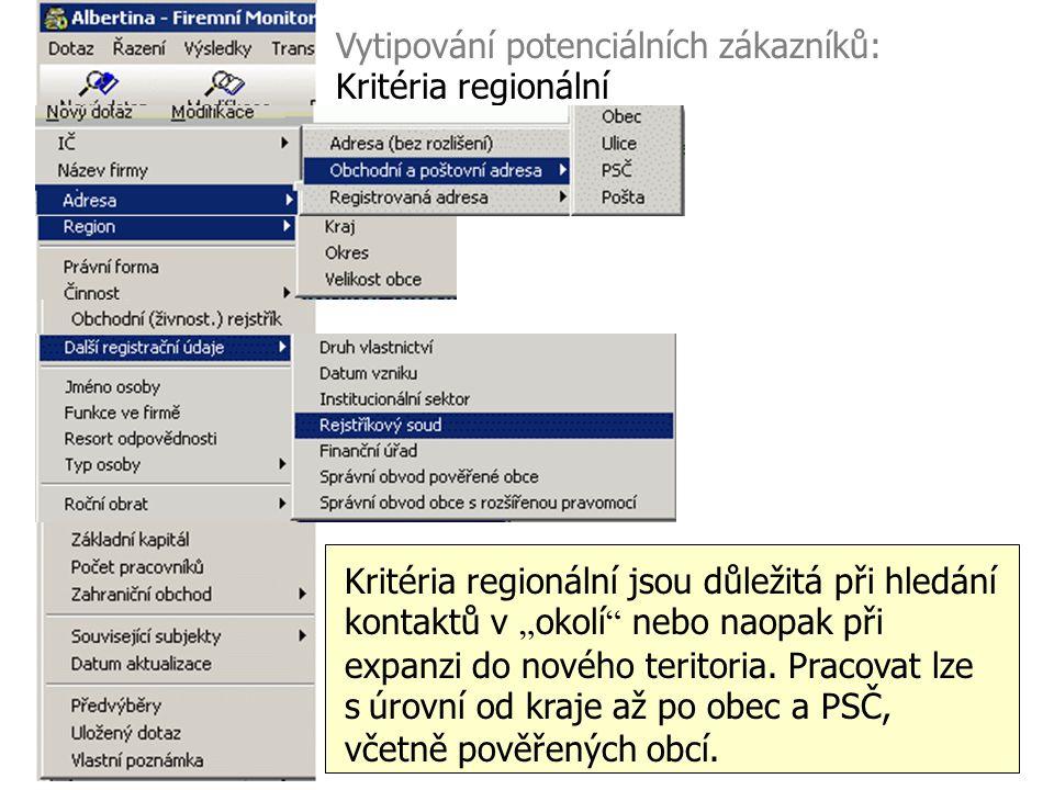 Vytipování potenciálních zákazníků: Kritéria regionální