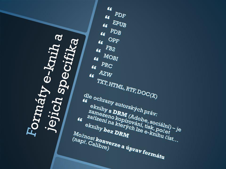 Formáty e-knih a jejich specifika