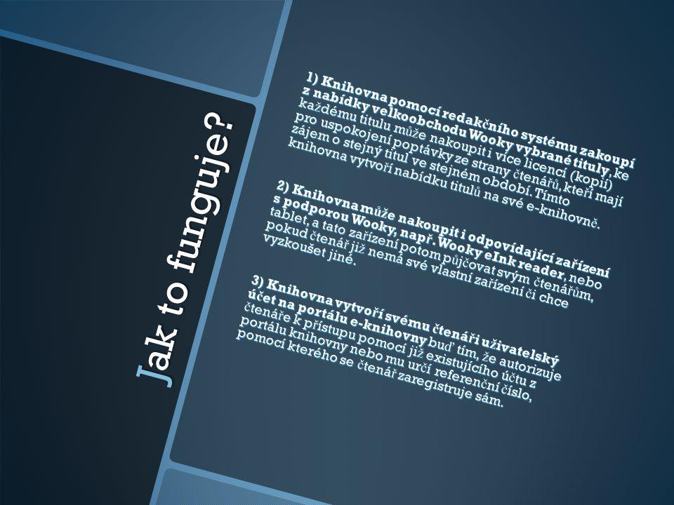 1) Knihovna pomocí redakčního systému zakoupí z nabídky velkoobchodu Wooky vybrané tituly, ke každému titulu může nakoupit i více licencí (kopií) pro uspokojení poptávky ze strany čtenářů, kteří mají zájem o stejný titul ve stejném období. Tímto knihovna vytvoří nabídku titulů na své e-knihovně. 2) Knihovna může nakoupit i odpovídající zařízení s podporou Wooky, např. Wooky eInk reader, nebo tablet, a tato zařízení potom půjčovat svým čtenářům, pokud čtenář již nemá své vlastní zařízení či chce vyzkoušet jiné. 3) Knihovna vytvoří svému čtenáři uživatelský účet na portálu e-knihovny buď tím, že autorizuje čtenáře k přístupu pomocí již existujícího účtu z portálu knihovny nebo mu určí referenční číslo, pomocí kterého se čtenář zaregistruje sám.