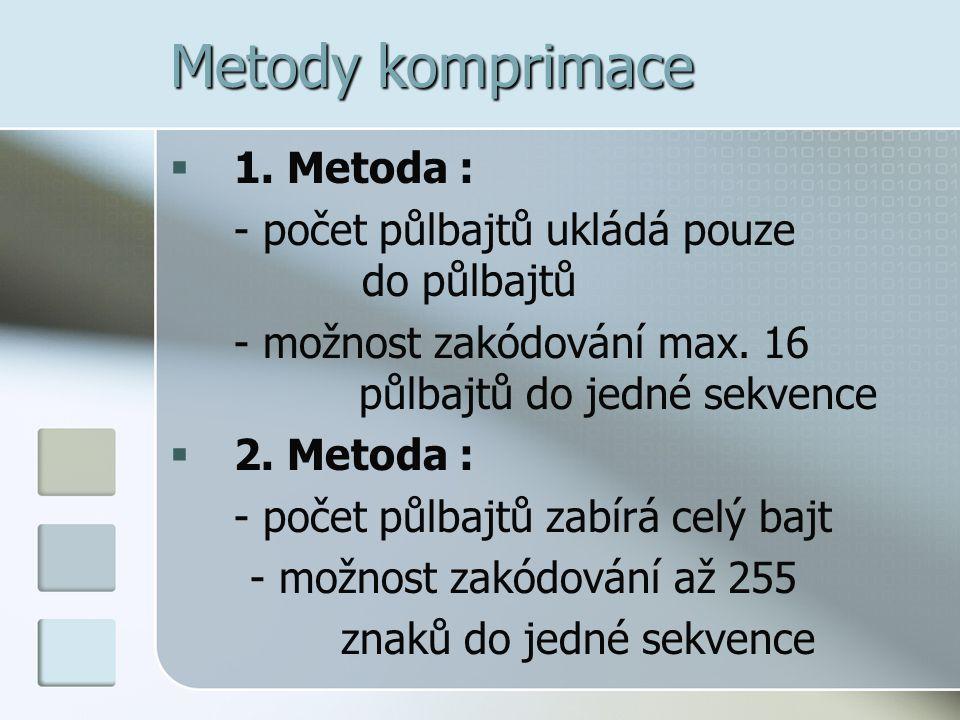 Metody komprimace 1. Metoda :
