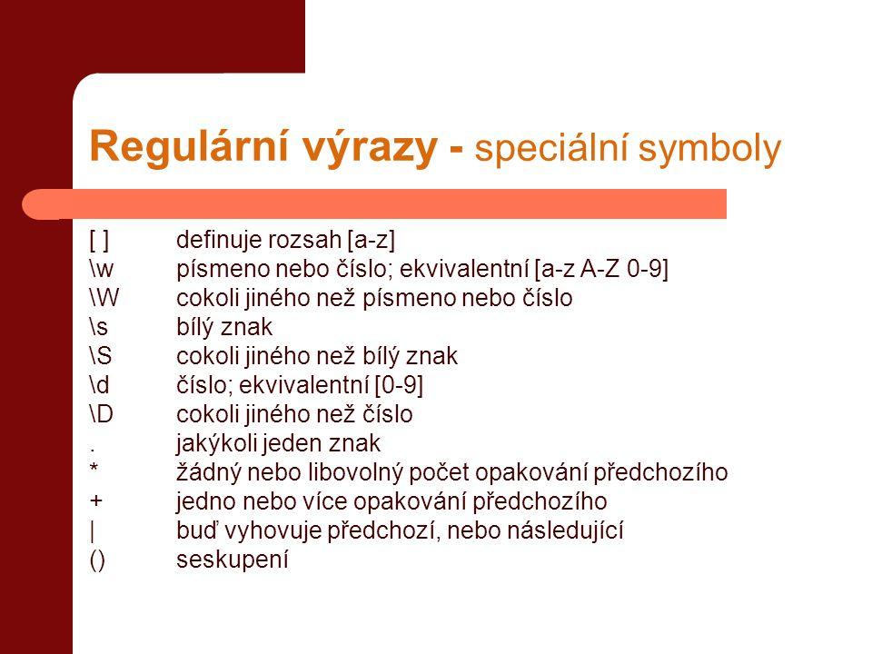 Regulární výrazy - speciální symboly