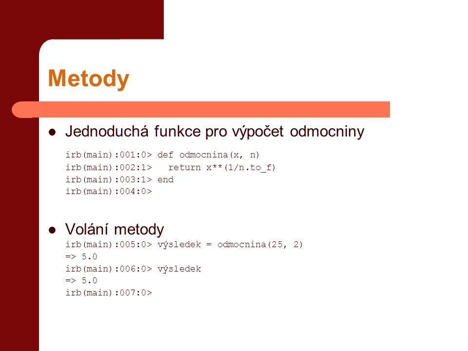 Metody Jednoduchá funkce pro výpočet odmocniny