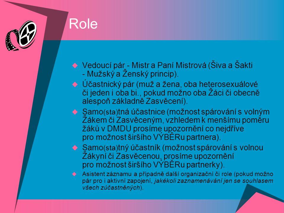 Role Vedoucí pár - Mistr a Paní Mistrová (Šiva a Šakti - Mužský a Ženský princip).