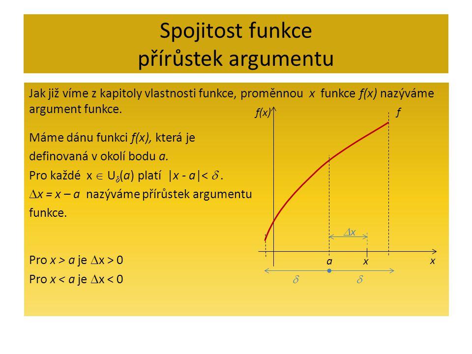 Spojitost funkce přírůstek argumentu