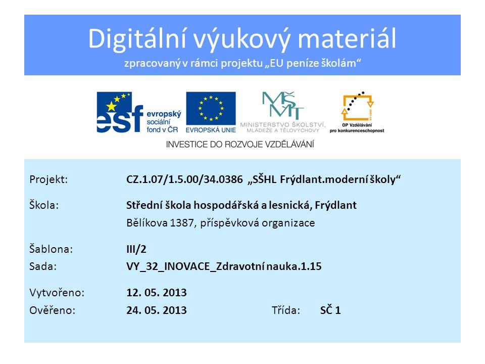 """Digitální výukový materiál zpracovaný v rámci projektu """"EU peníze školám"""