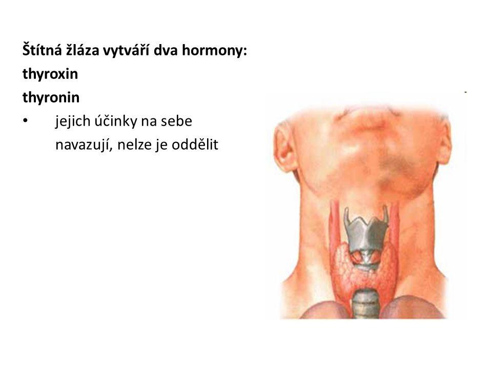 Štítná žláza vytváří dva hormony: