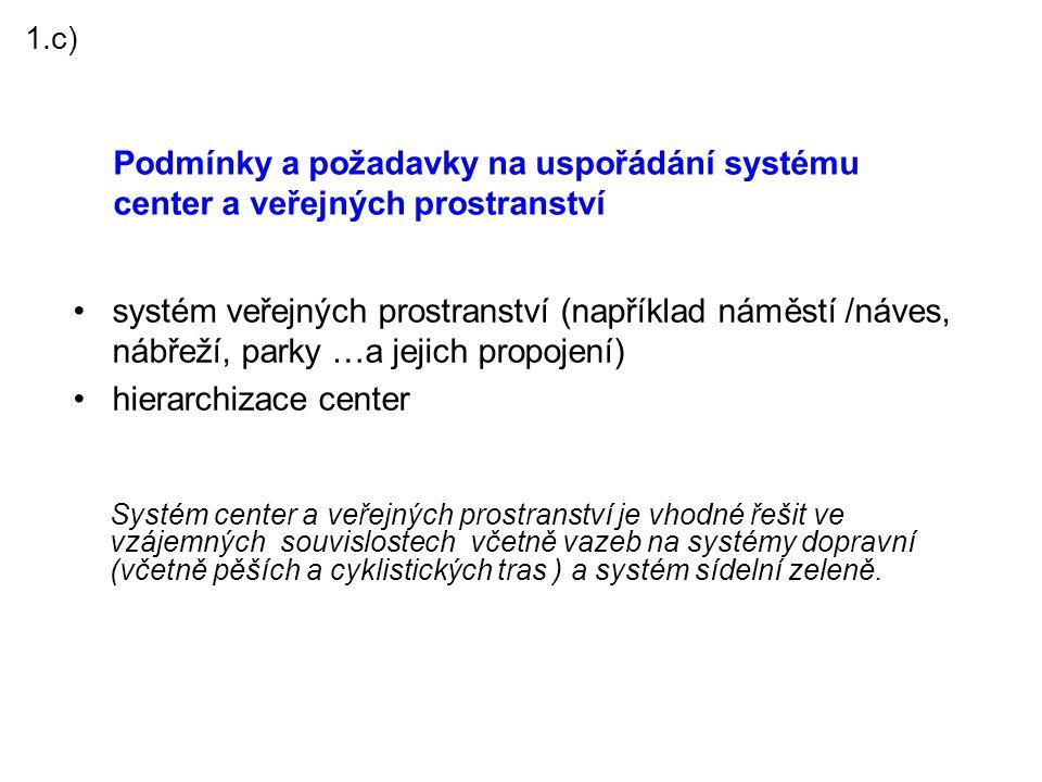 1.c) Podmínky a požadavky na uspořádání systému center a veřejných prostranství.