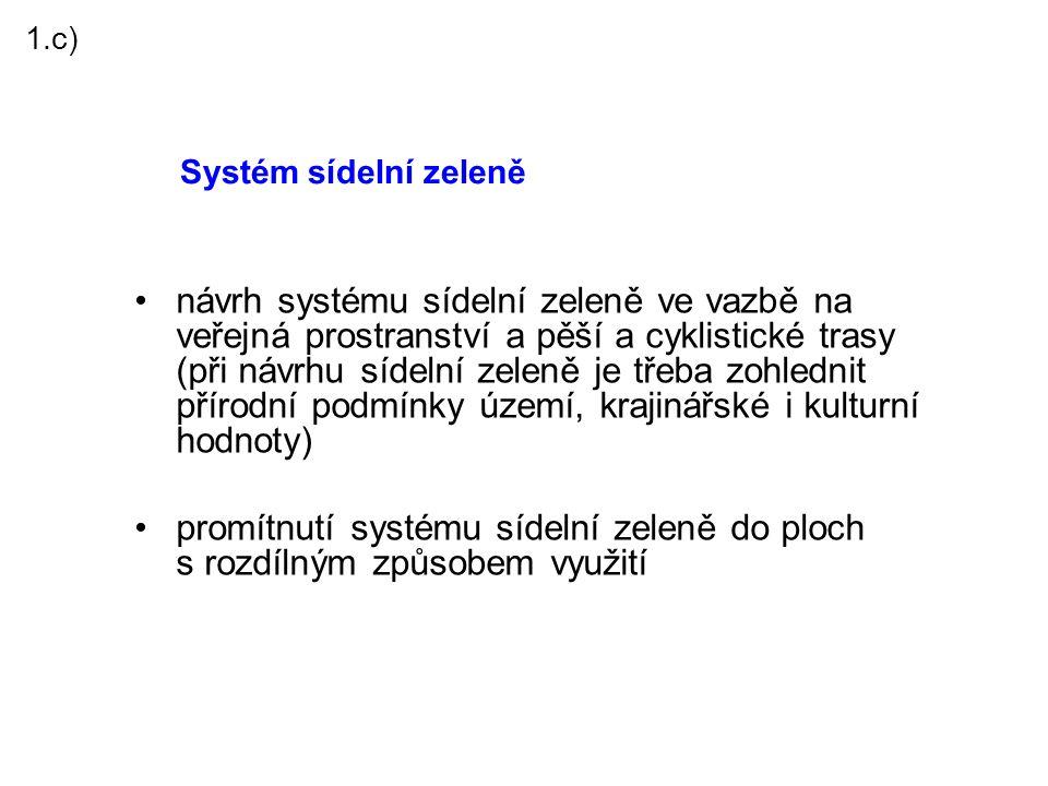 1.c) Systém sídelní zeleně.