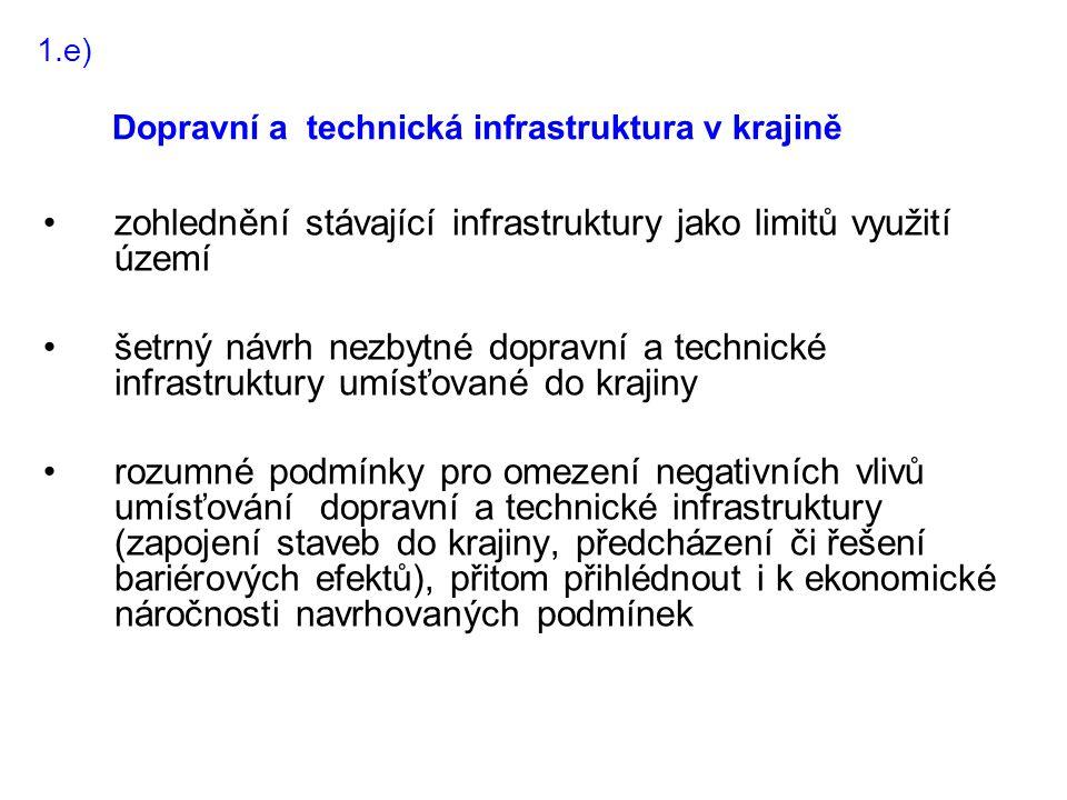 zohlednění stávající infrastruktury jako limitů využití území