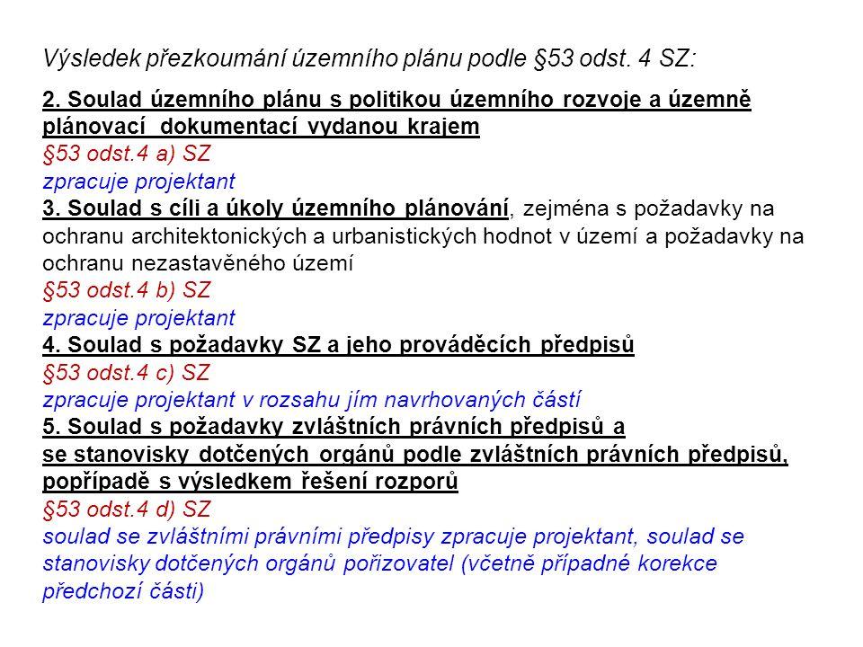 Výsledek přezkoumání územního plánu podle §53 odst. 4 SZ: