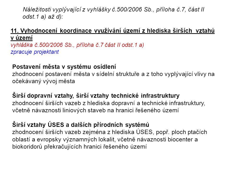Náležitosti vyplývající z vyhlášky č. 500/2006 Sb. , příloha č