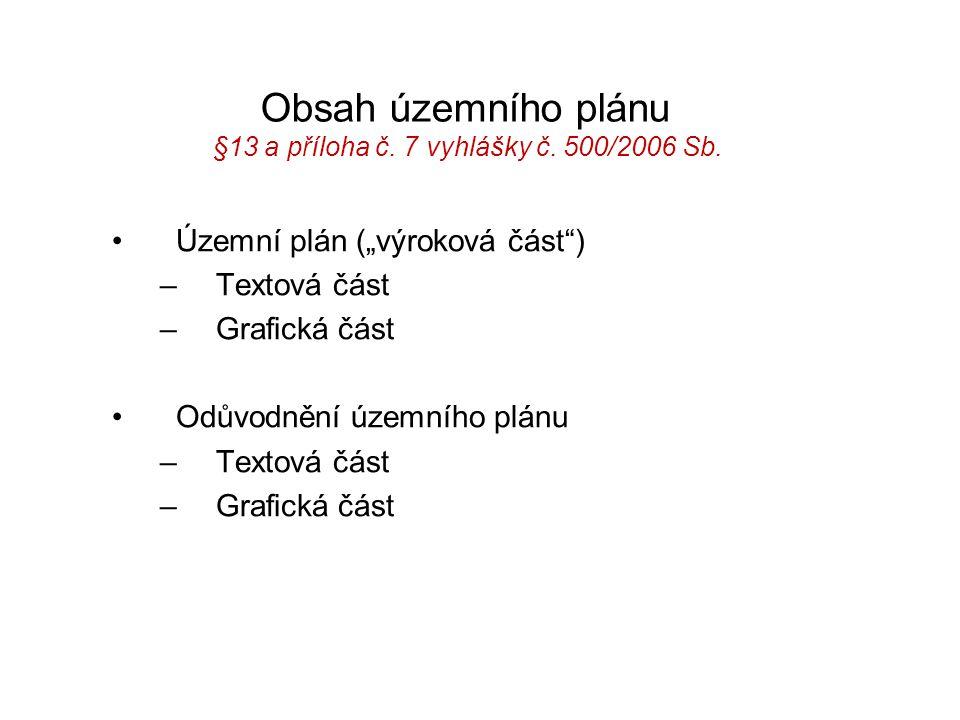 Obsah územního plánu §13 a příloha č. 7 vyhlášky č. 500/2006 Sb.