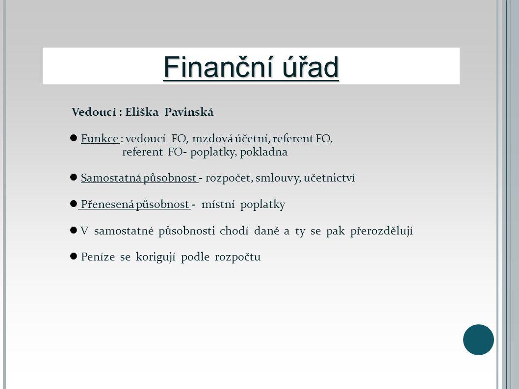 Finanční úřad Vedoucí : Eliška Pavinská