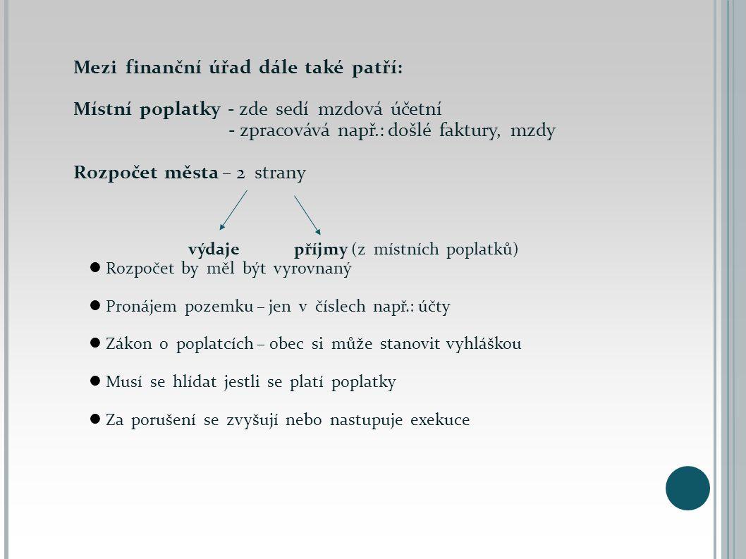 Mezi finanční úřad dále také patří: