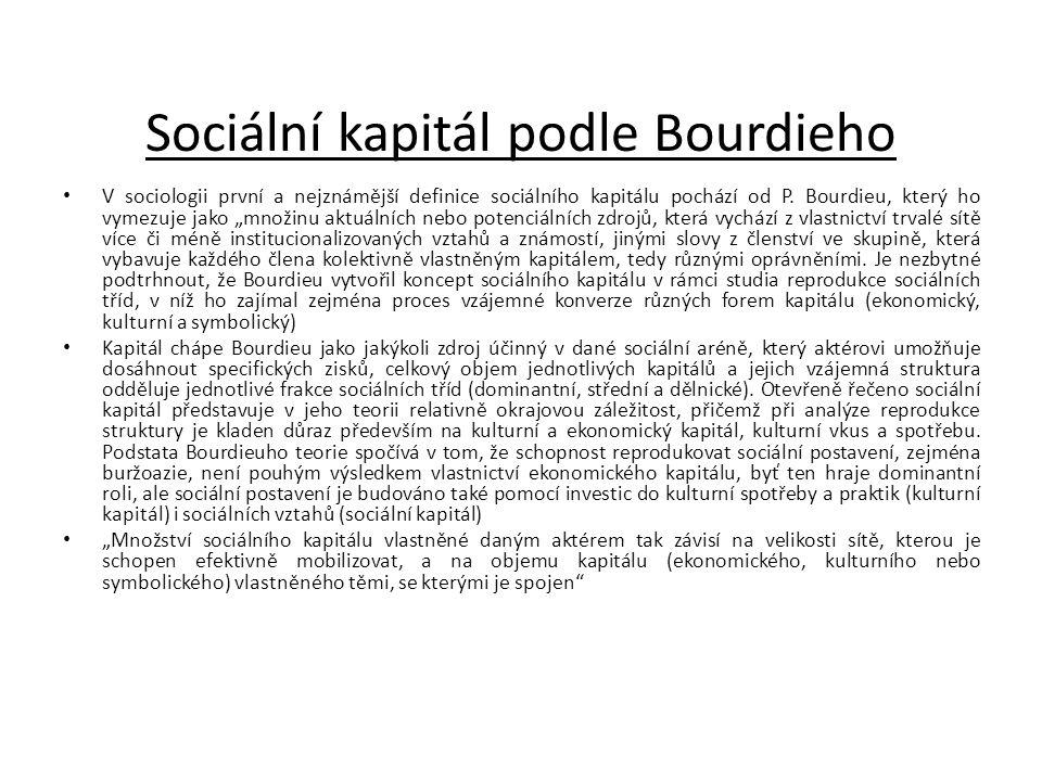 Sociální kapitál podle Bourdieho