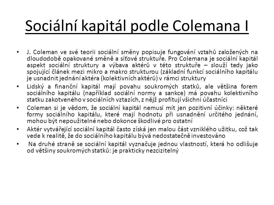 Sociální kapitál podle Colemana I