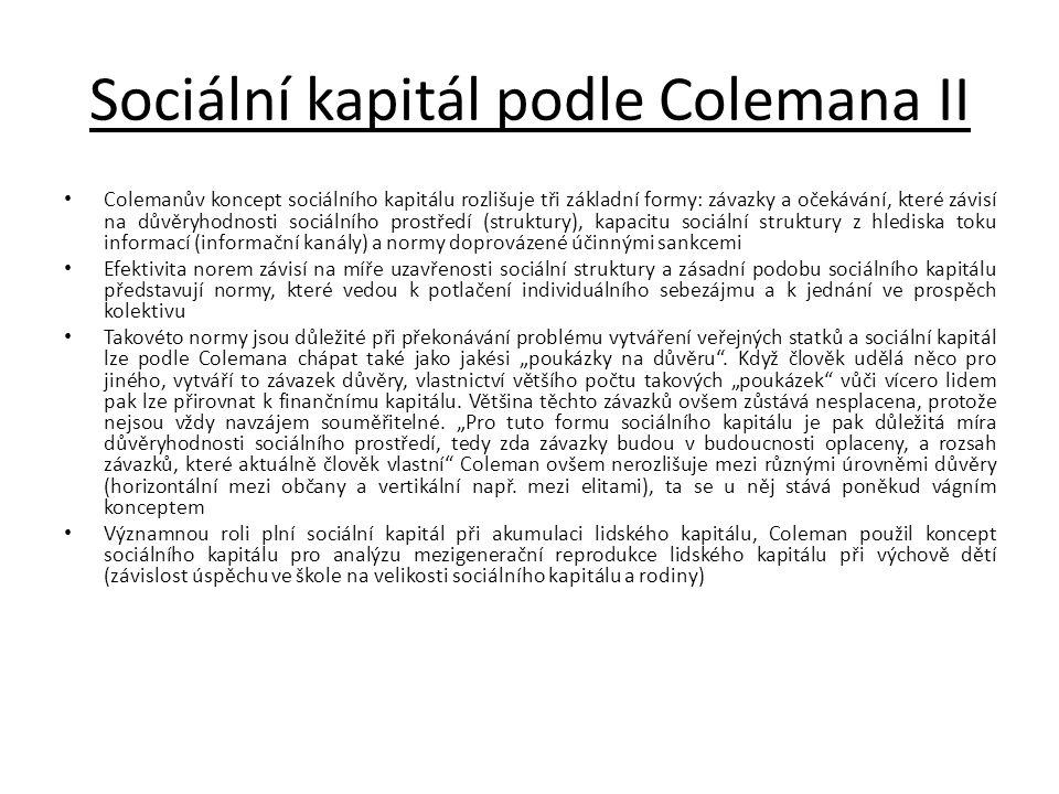 Sociální kapitál podle Colemana II