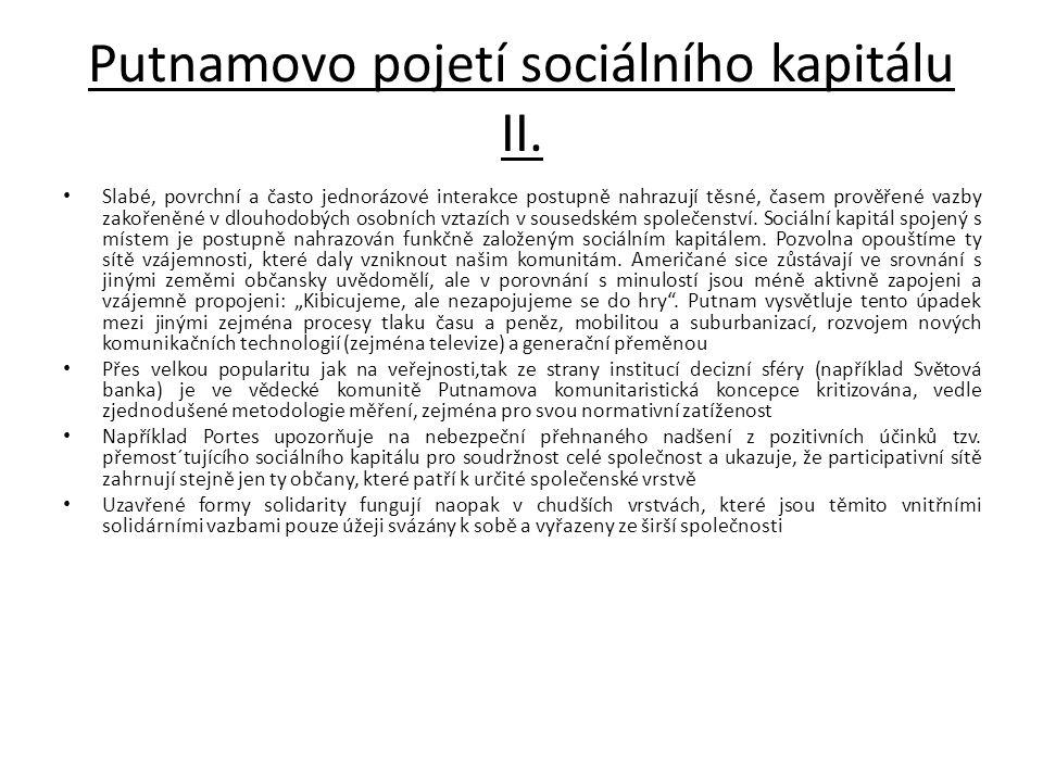 Putnamovo pojetí sociálního kapitálu II.