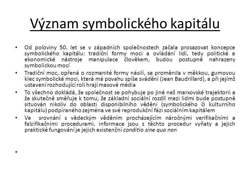 Význam symbolického kapitálu