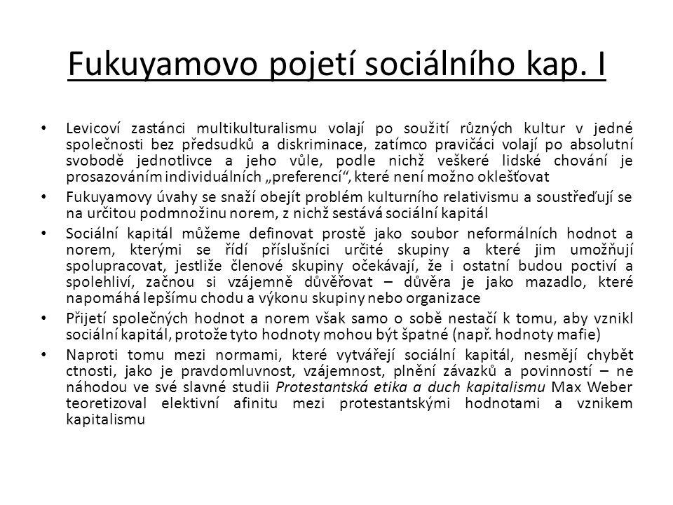Fukuyamovo pojetí sociálního kap. I
