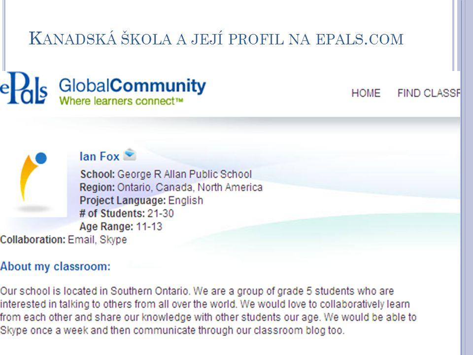 Kanadská škola a její profil na epals.com
